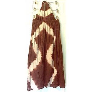 Vintage Tie Dye Halter Dress Sundress Boho Hippie